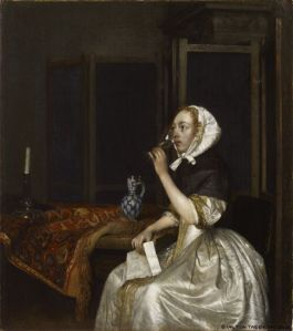 Borch, young woman with a glass of wine, holding a letter - sinebrychoff