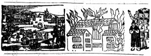 Woodcut from ballad: 'The lamentable Burning of the Citty / of Corke (in the Prouince of Munster in Ireland) by Lightning: which happened the Last of May, 1622.