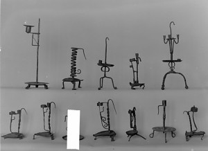 Various iron candleholders, Spanish, 16th century, Metropolitan Museum, NY.