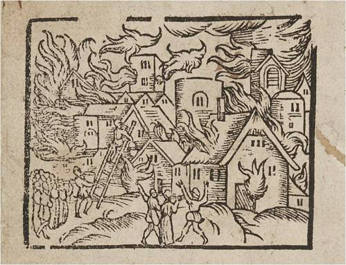Woodcut from 'A brief sonnet declaring the lamentation of Beckles, a Market Town in Suffolk', which describes the fire of 1586.