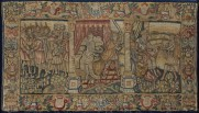 A Sheldon tapestry cover for a long cushion created in England around 1600. It illustrates three scenes from the life of Joseph, with the central scene depicting the attempted seduction of Joseph by Potiphar's wife. Wrapped half-naked in a sheet in front of a richly dressed bed adorned with curtains, presumably made of silk, and a runner of golden tassels, the adulteress grabs hold of Joseph's cloak with one hand as he tries to escape, and with the other beckons him to join her on the bed. For Shakespeare's society, adultery was considered one of the greatest threats to marriage and social order. The Potiphar's wife cushion cover presents a means by which people were reminded of and warned against sin and vice. Dimensions: Tapestry 57cm x 99cm, Frame: 64cm x 106cm
